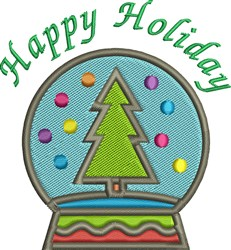Happy Holiday Globe embroidery design