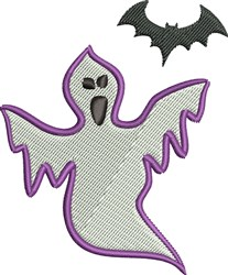 Ghost and Bat embroidery design