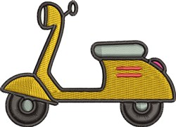 Yellow Scooter embroidery design