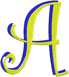 Giant Curlz 3D Capital A embroidery design