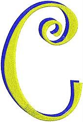 Giant Curlz 3D Capital C embroidery design