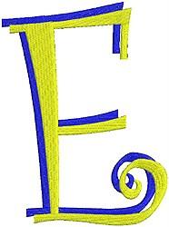 Giant Curlz 3D Capital E embroidery design