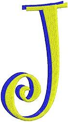 Giant Curlz 3D Capital J embroidery design