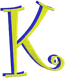 Giant Curlz 3D Capital K embroidery design