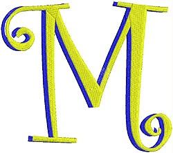 Giant Curlz 3D Capital M embroidery design