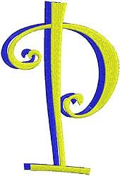 Giant Curlz 3D Capital P embroidery design