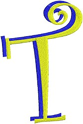 Giant Curlz 3D Capital T embroidery design
