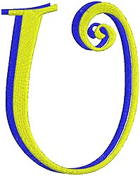 Giant Curlz 3D Capital U embroidery design