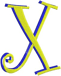 Giant Curlz 3D Capital X embroidery design
