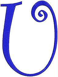 Giant Curlz Capital U embroidery design