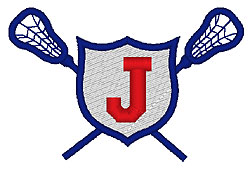 Lacrosse J embroidery design