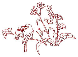 Floral Redwork embroidery design