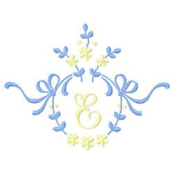 Floral Monogram E embroidery design