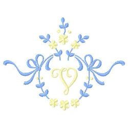 Floral Monogram V embroidery design