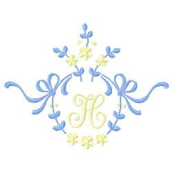 Floral Monogram H embroidery design