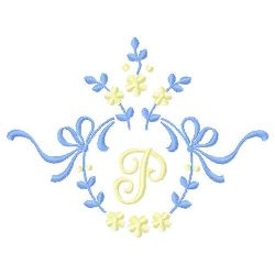 Floral Monogram P embroidery design