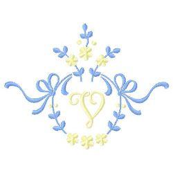 Floral Monogram V embroidery design