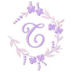 Floral Monogram T embroidery design