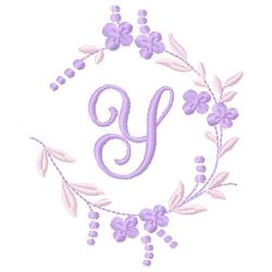 Floral Monogram Y embroidery design