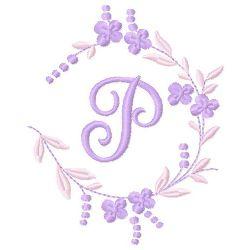 Floral Monogram P embroidery design