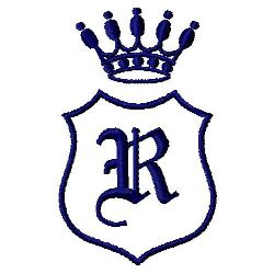 Royal Shield R embroidery design