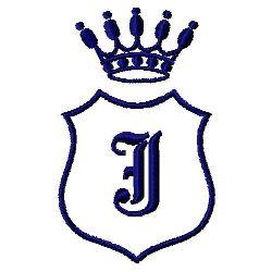 Royal Shield J embroidery design