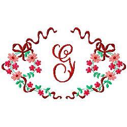 Floral Monogram G embroidery design