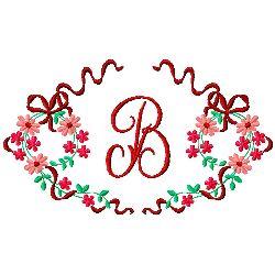 Floral Monogram B embroidery design
