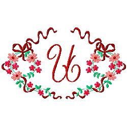 Floral Monogram U embroidery design