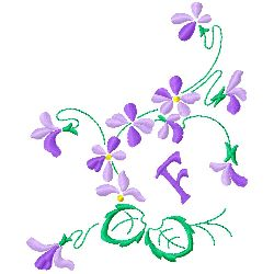 Floral Monogram F embroidery design