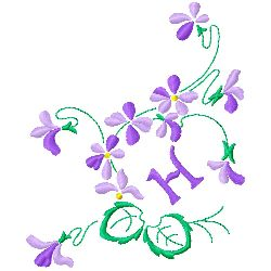 Floral Monogram H embroidery design