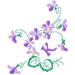 Floral Monogram K embroidery design