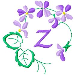 Floral Monogram Z embroidery design