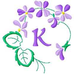 Floral Monogram K embroidery design