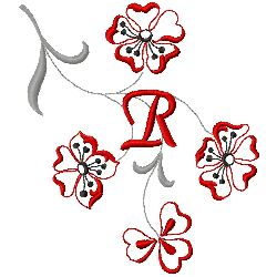 Floral Monogram R embroidery design