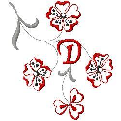 Floral Monogram D embroidery design