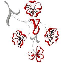 Floral Monogram Y embroidery design