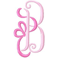 Bow Monogram B embroidery design