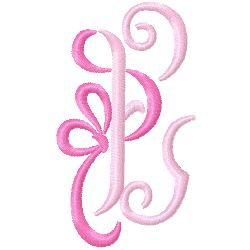 Bow Monogram E embroidery design
