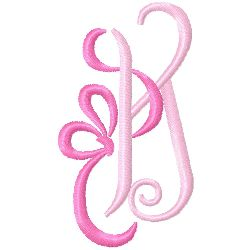 Bow Monogram K embroidery design