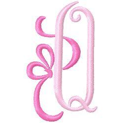 Bow Monogram Q embroidery design
