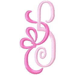 Bow Monogram S embroidery design