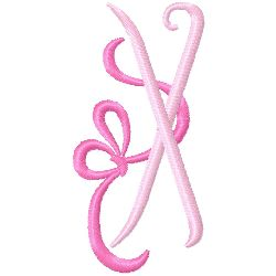 Bow Monogram X embroidery design
