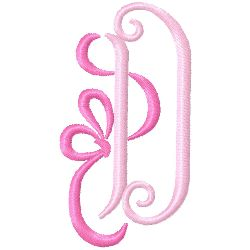 Bow Monogram D embroidery design
