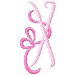 Bow Monogram X embroidery design