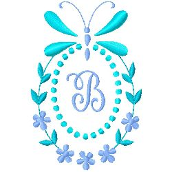 Butterfly Monogram B embroidery design