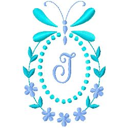 Butterfly Monogram J embroidery design