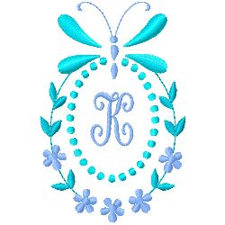 Butterfly Monogram K embroidery design
