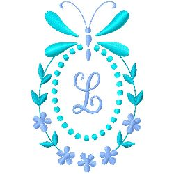 Butterfly Monogram L embroidery design