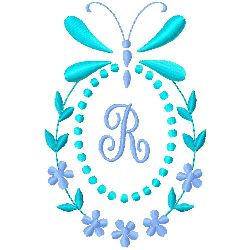 Butterfly Monogram R embroidery design